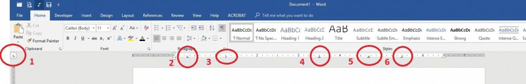 Figure 1: Tab Stop Selector. Click the tab stop selector (#1 above) to scroll through the selection of tab stops. I've circled the examples of tab stop placements: 2) Left tab stop; 3) Bar tab stop; 4) Center tab stop; 5) Decimal tab stop; and 6) Right tab stop.