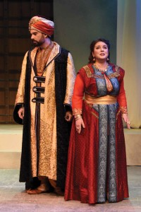 Actor Sean Kroll as Pasha Selim and soprano Halley Gilbert as Konstanze in a scene from Act I of the Bronx Opera's recent revival production of Mark Herman and Ronnie Apter's English translation of Mozart's The Abduction from the Seraglio. (Photo used by permission of Hannah Spierman, social media director of the Bronx Opera.)