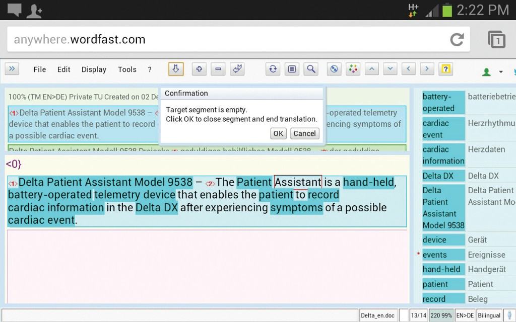 Figure 2: Example of a cloud-based translation memory system I use in class. This screenshot was taken on an Android device, displaying several quality assurance features (e.g., automatic terminology look-up, formatting placeholders, and completeness control).