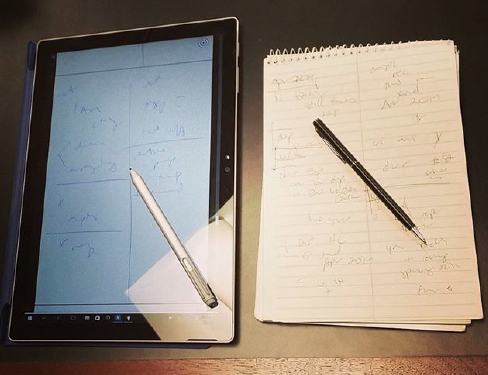 Figure 4: Consecutive notes on the Surface Pro 4 with the Surface Pen, compared to a steno pad and analog pen.