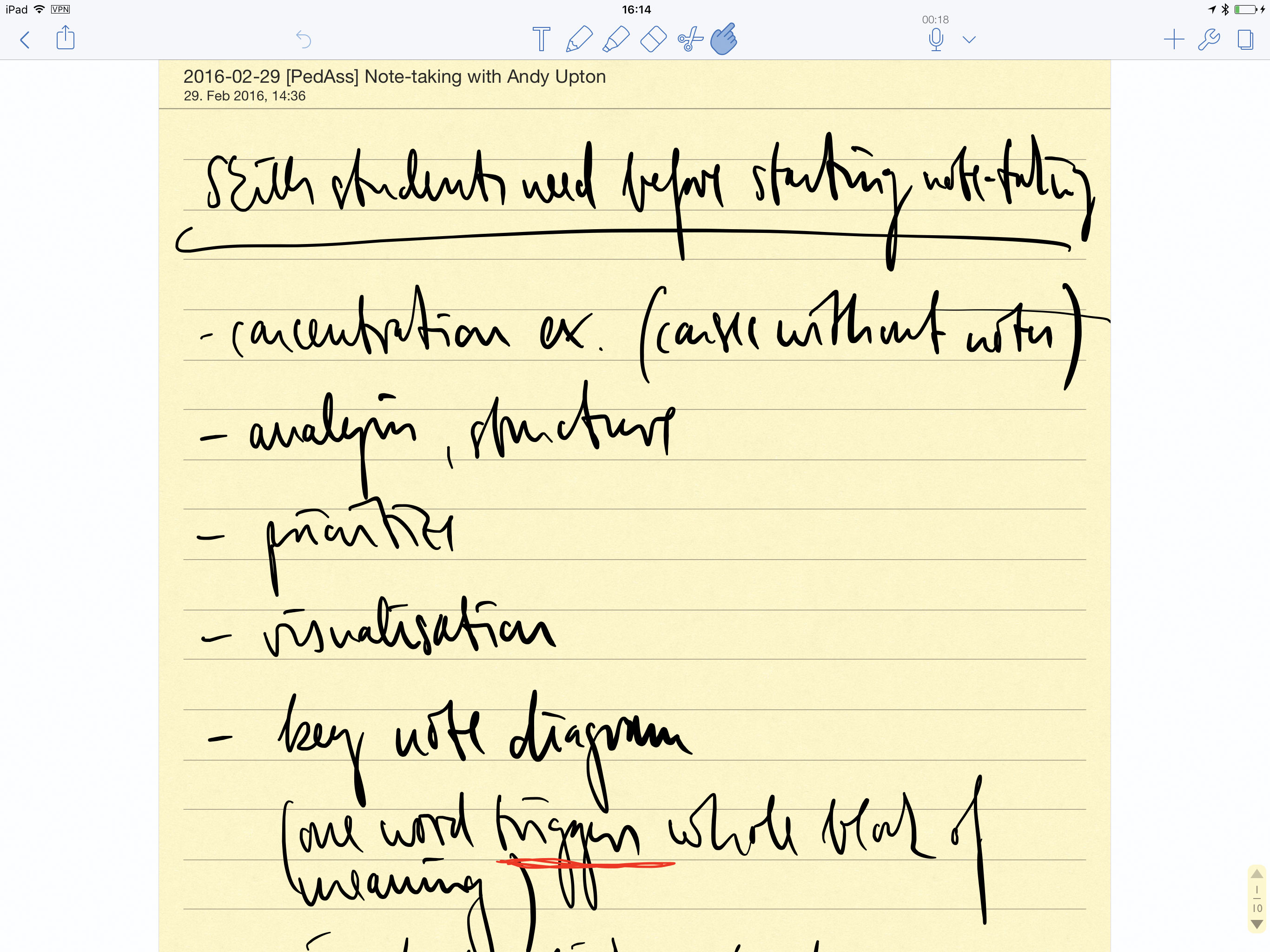 Figure 3: A screenshot of handwritten notes in the Notability app