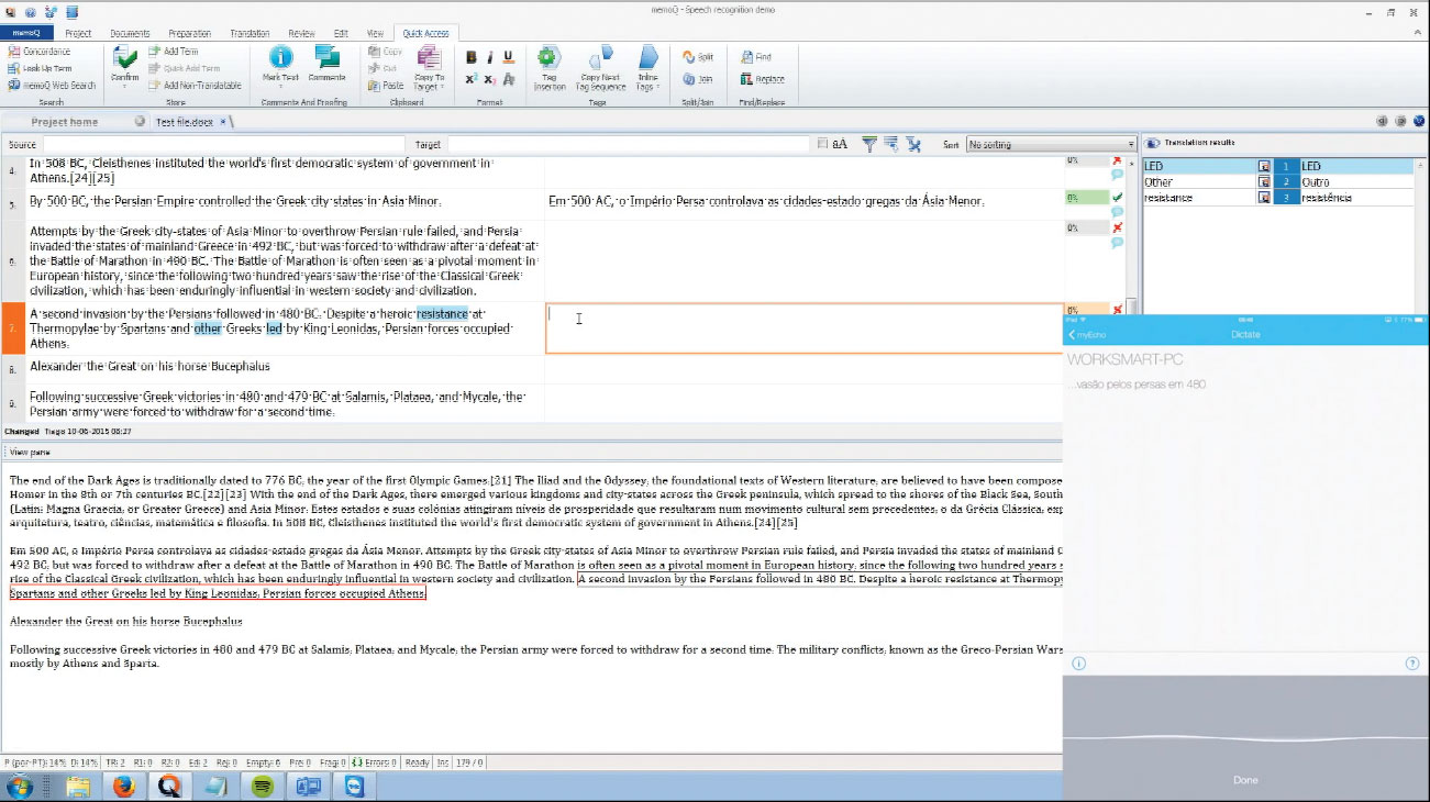 Figure 5: MyEcho being used to output the text-to-speech into a segment in memoQ. The window on the lower right is a live iPad screen capture of the interface.