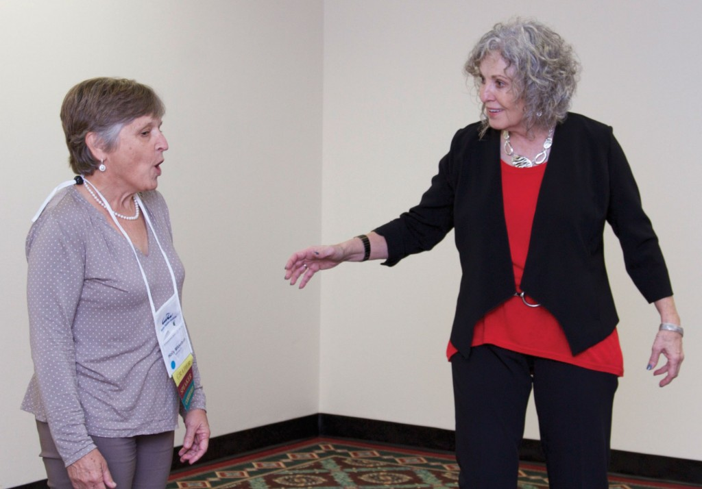 ATA event speaker Holly Mikkelson practices voice modulation with Jan Fox.