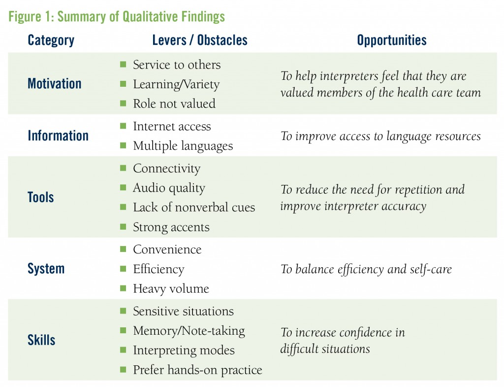 Figure 1: Summary of Qualitative Findings