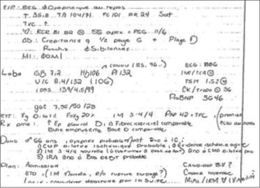 Figure 1: A standard handwritten SOAP note (French), illustrating the need to decipher acronyms, symbols, and the review of systems.