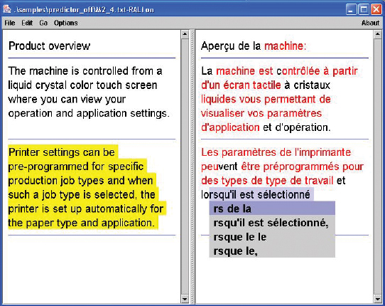 FIGURE 1: The TransType2 interface. The autocomplete box provides variable length suggestions that are selected based on a model of user utility.